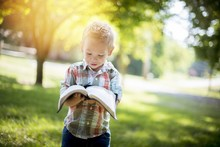 Closeup Shot Of A Child Holding An Open Bible While Looking At It With A Blurred Background