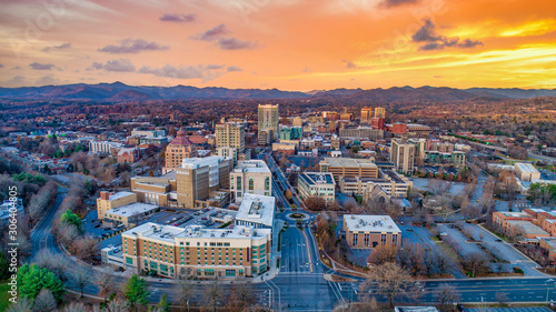Asheville North Carolina NC Drone Skyline Aerial Wallpaper Mural