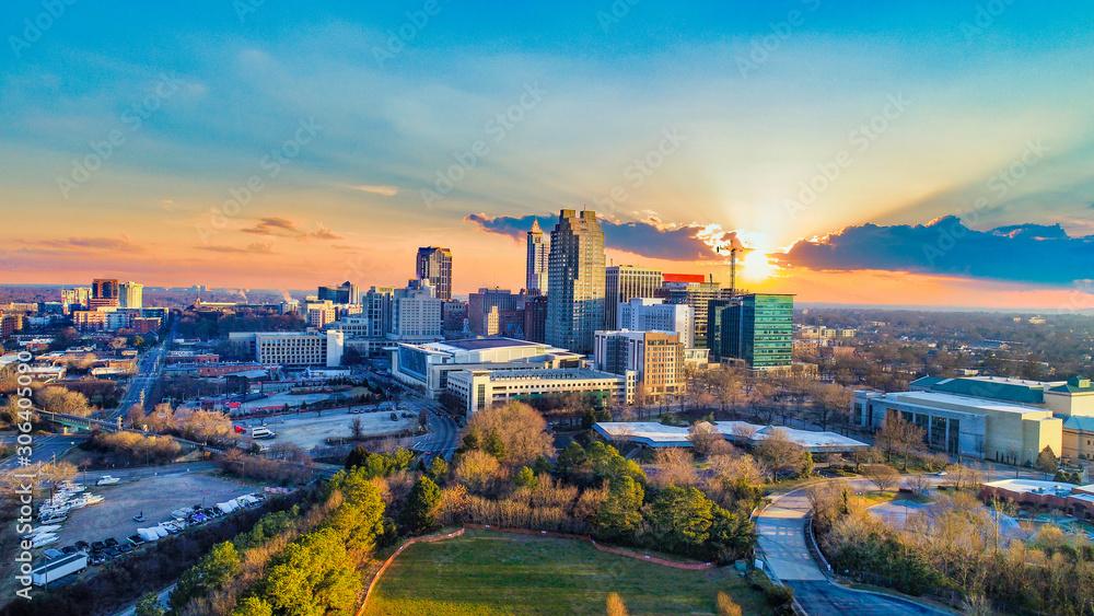 Fototapeta Downtown Raleigh, North Carolina, USA Skyline Aerial