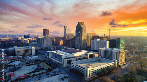 Raleigh, North Carolina, USA Drone Skyline Aerial