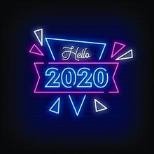 Hello 2020 Neon Signs Style Te...