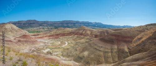 Valokuvatapetti Panorama of the unique landscape known as Painted Hills in Oregon