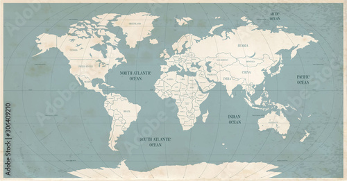 Fototapeta Old world map in vintage style. Political vintage golden world map.Vector stock obraz