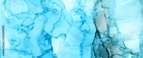 Art Abstract paint blots background. Alcohol ink blue colors. Marble texture.