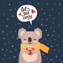 Christmas Card With Cute Koala Vector Illustration