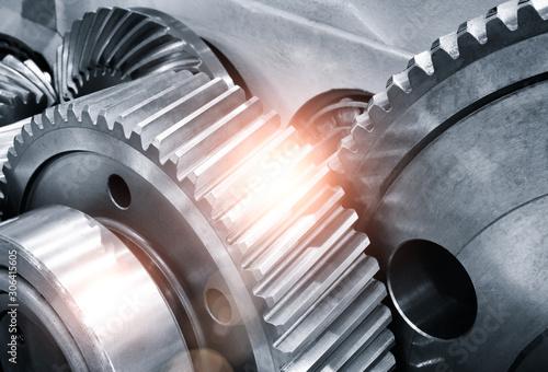 engine gear wheels, industrial background Tablou Canvas