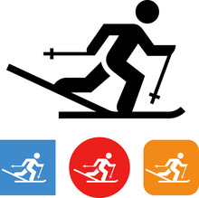 Cross Country Skier Vector Icon