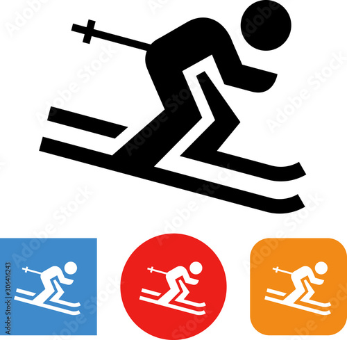 Downhill Ski Racer Vector Icon Wallpaper Mural