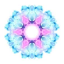 Delicate Watercolor Flower Mandala Isolated On White Background. Kaleidoscope Effect.