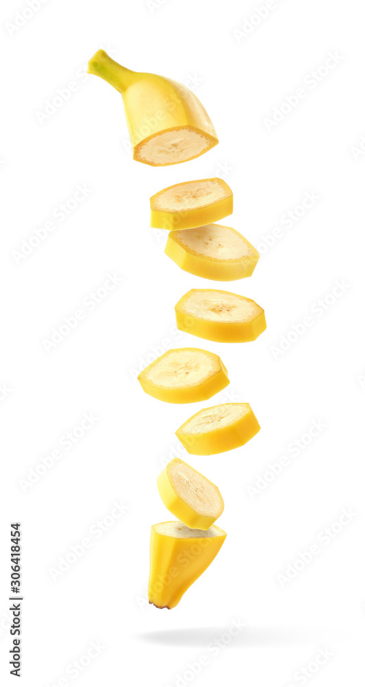 Fotografie, Obraz Flying fresh ripe banana slices