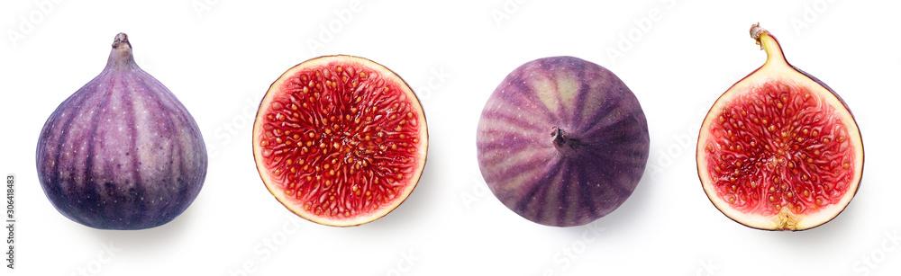 Fototapeta Fresh whole and sliced fig on white background