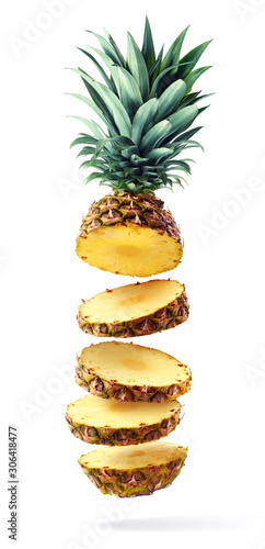 Obraz na plátně Flying fresh ripe pineapple slices