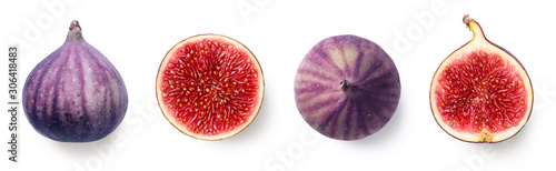 Fotografie, Obraz Fresh whole and sliced fig on white background