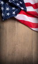 US Flag On Wooden Background. N