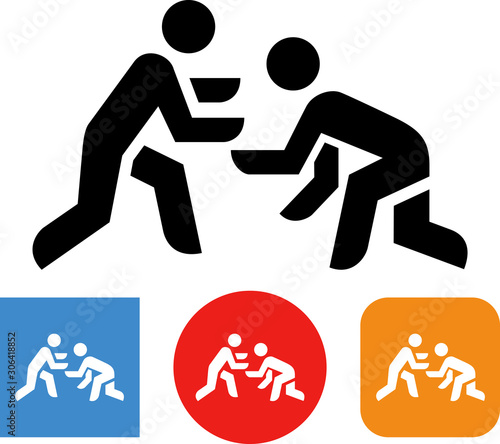 Two People Wrestling Vector Icon Fototapet