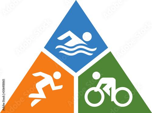 Fotografía Triathlon Swim Bike Run Vector Icon