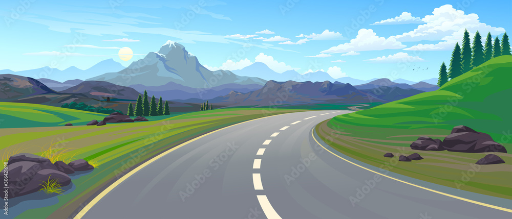 Fototapeta Perspective of a driving on a highway across the mountain landscape