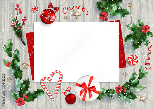 Fotobehang - Christmas card for greeting or invitation.
