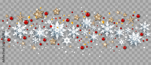 Fotobehang - Seasonal winter decoration with snowflakes