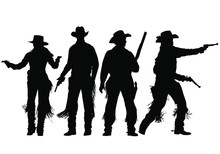 Vector Silhouettes Of Wild-wes...