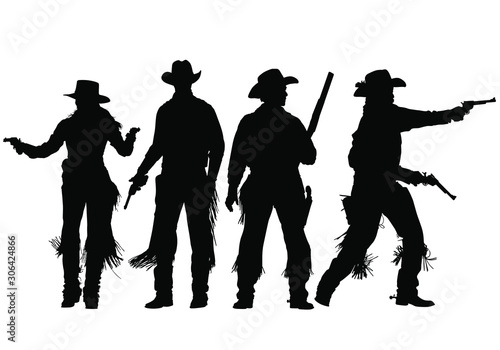 Fotomural  Vector silhouettes of wild-west gunslingers, outlaws, lawmen and cowboys