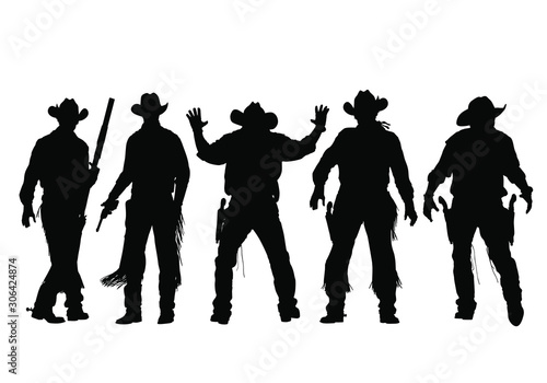 Photo Vector silhouettes of wild-west gunslingers, outlaws, lawmen and cowboys