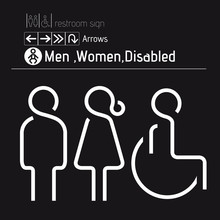 Toilet Restroom Men Women Disabled Handicap Wheelchair Sign Vectors20