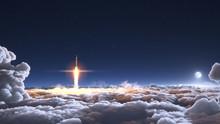 Rocket Flies Through The Cloud...