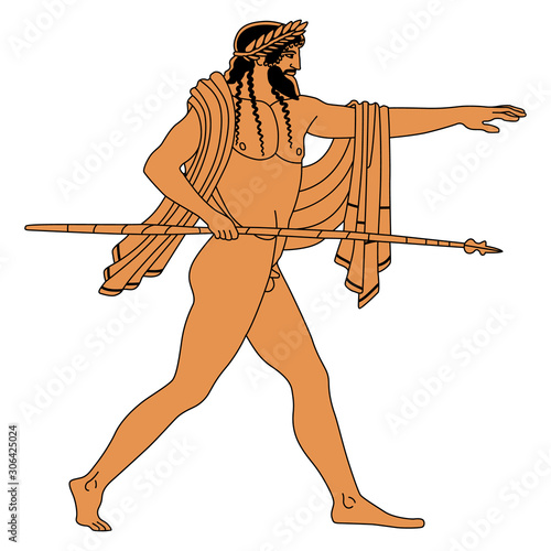 Ancient Greek naked god with spear Wallpaper Mural
