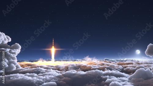 Obraz Rocket flies through the clouds on moonlight - fototapety do salonu