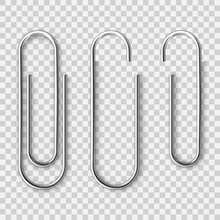 Realistic Metal Paper Clip Isolated On Transparent Background. Page Holder, Binder. Vector Illustration.