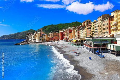 Landmarks of Italy , Italian summer holidays - beautiful coastal Camogli town in Liguria