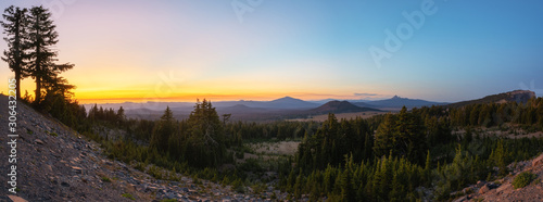 Panorama of Mount Theilsen and Mount Bailey at sunset Canvas Print