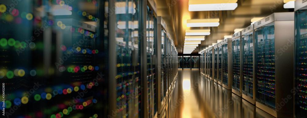 Fototapeta Server room data center. Backup, mining, hosting, mainframe, farm and computer rack with storage information. 3d render