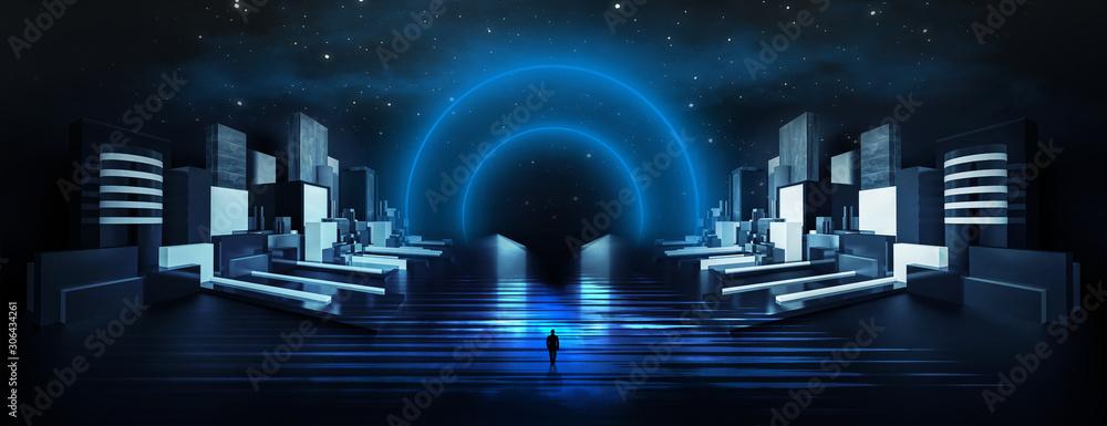 Streszczenie, futurystyczne miasto z betonu i neonu. Nocny widok na miasto, oświetlenie. Ciemna ulica, abstrakcyjna scena, promienie neonowe. Ilustracja 3D.