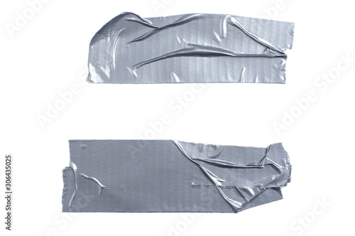 Cuadros en Lienzo Two strips of silver adhesive tape isolated on a white background