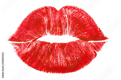 Imprint or print of red lipstick on a white background, isolated. Makeup female lips close up. Concept of love, makeup and beauty. Sexy red lips on white, kiss. Trace of lipstick. - 306435253