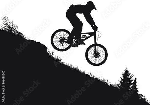 Photo A vector silhouette of an extreeme downhill mountain biker
