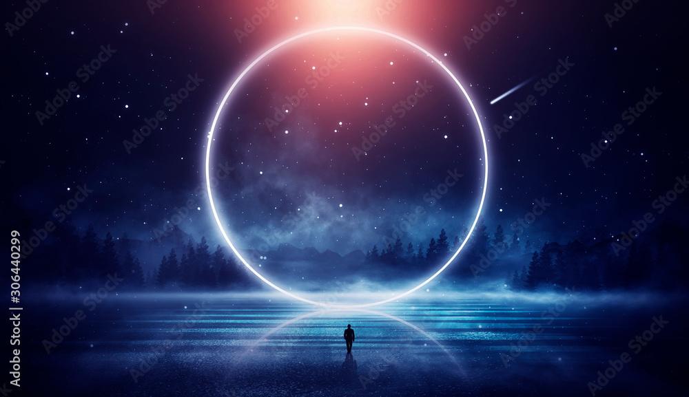 Futurystyczny nocny krajobraz z abstrakcyjnym krajobrazem i wyspą, blask księżyca, blask. Ciemna naturalna scena z odbiciem światła w wodzie, neonowe niebieskie światło. Ciemne tło neon. Ilustracja 3D