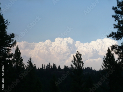 Aluminium Prints Pyrocumulus, Fire Clouds, Flammagenitus, over Mountain Range