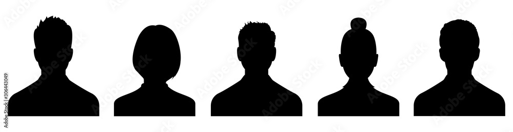 Fototapeta Male and female head silhouettes avatar, profile icons. Vector
