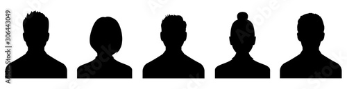 Fotografie, Obraz Male and female head silhouettes avatar, profile icons. Vector