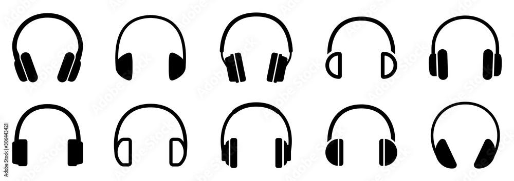 Fototapeta Headphones icons set. Vector illustration