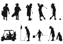 Vector Silhouettes Of Children Golfing.