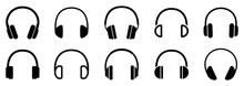 Headphones Icons Set. Vector I...