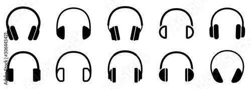 Headphones icons set. Vector illustration Fototapeta