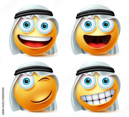 Happy arab emoji and emoticon vector set Wallpaper Mural