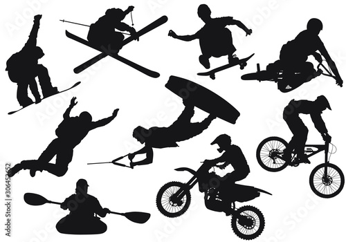 Photo Vector silhouettes of various extreme sports.