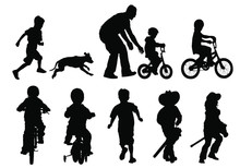 Vector Silhouettes Of Children Playing Outside.