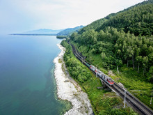 Trans-Siberian Railway At Lake...
